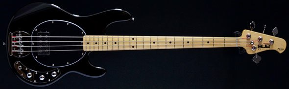 sterling by musicman sub ray4 4 string bass black second hand used bass guitar stock maple. Black Bedroom Furniture Sets. Home Design Ideas