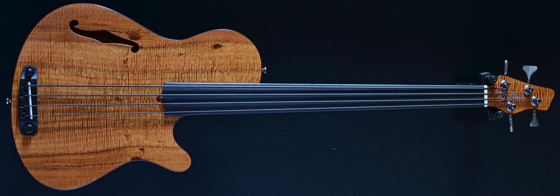 Rob Allen Deep 4 Four String Bass Flamed Koa Top Unlined Fretless